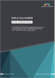 Fats & Oils Market by Type (Vegetable Oils (Palm, Soybean, Rapeseed, Sunflower, and Olive), Fats (Butter, Tallow, and Lard)), Application (Food and Industrial), Source (Vegetables and Animals), Form, and Region - Global Forecast to 2026